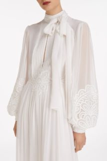 Tianna SS2111 White Silk Chiffon Long-Sleeve Pussybow Gown with Embroidered Organza Detail