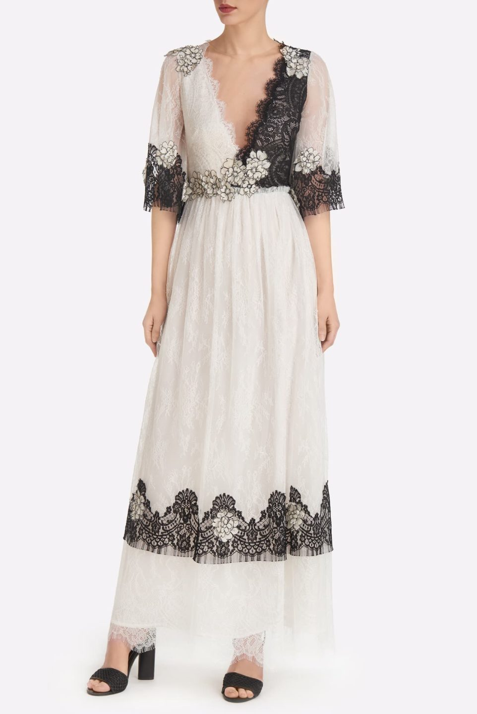 Mardenne SS2135 White & Black Chantilly Lace Surplice Dress with Flower Appliques and three-quarter sleeves