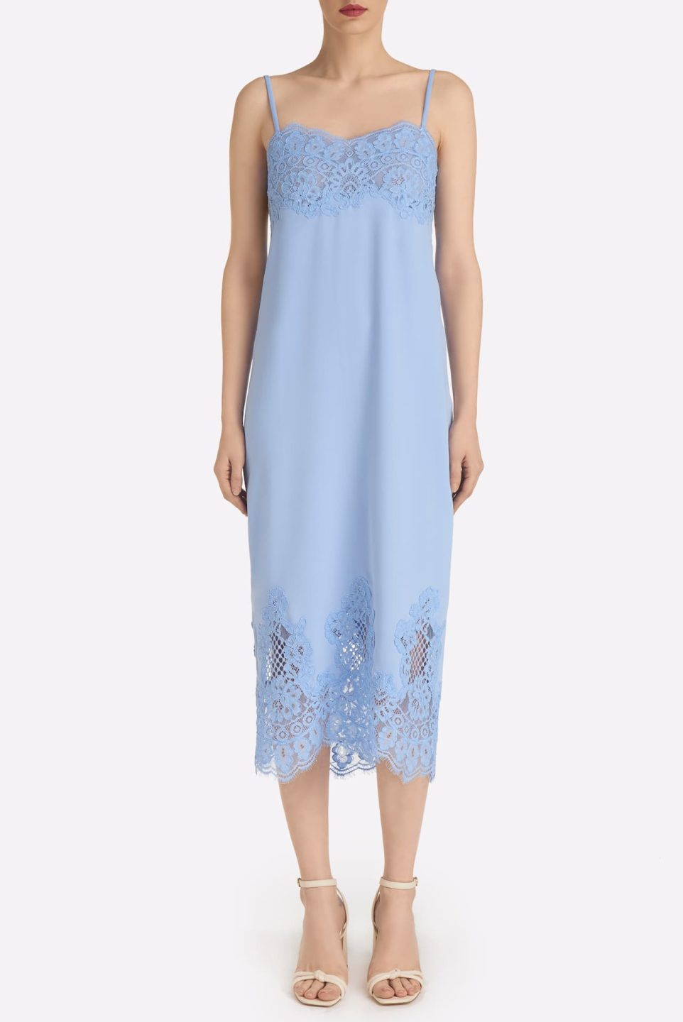 Cardina SS2155 Blue Crepe Camisole Sheath Dress with Cordered lace Accents