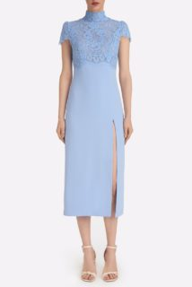 Sophiana SS2156 Blue Crepe Empire Dress with Corded Lace Bodice and high neckline