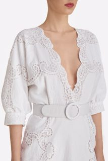 Arella SS2123 White Cotton Linen Blend Blouson Dress with Greek Reticella Lace and coordinating belt