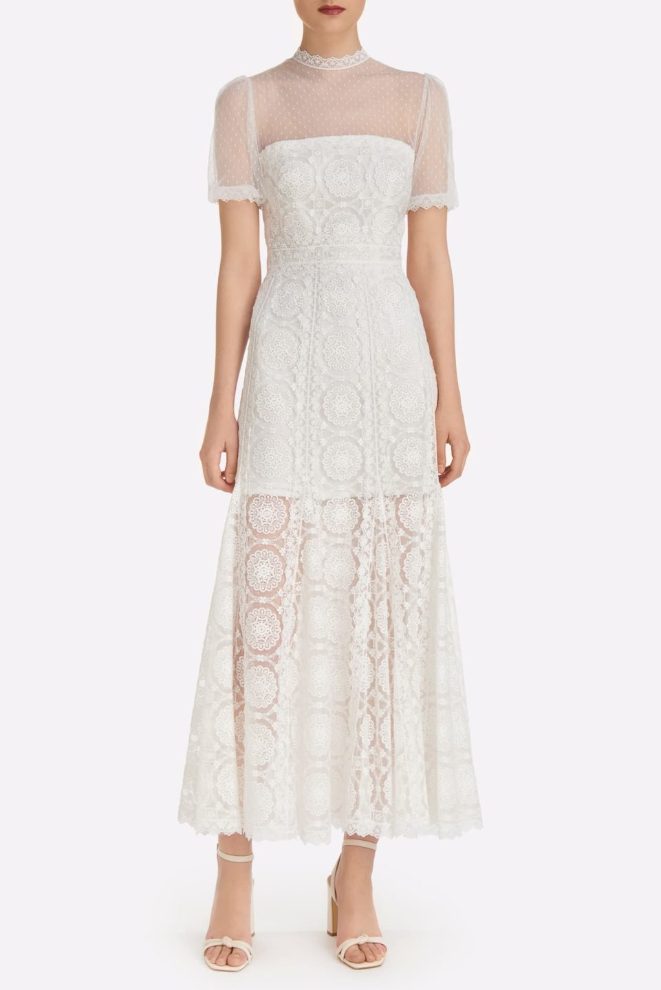Andressa SS2139 White Embroidered Rosetta French Tulle Godet Dress with Illusion Neckline and puff Sleeves