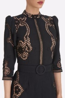 Evaine SS2122 Black Linen Cotton Blend Sheath Dress with Greek Reticella Lace and Mock-neckline