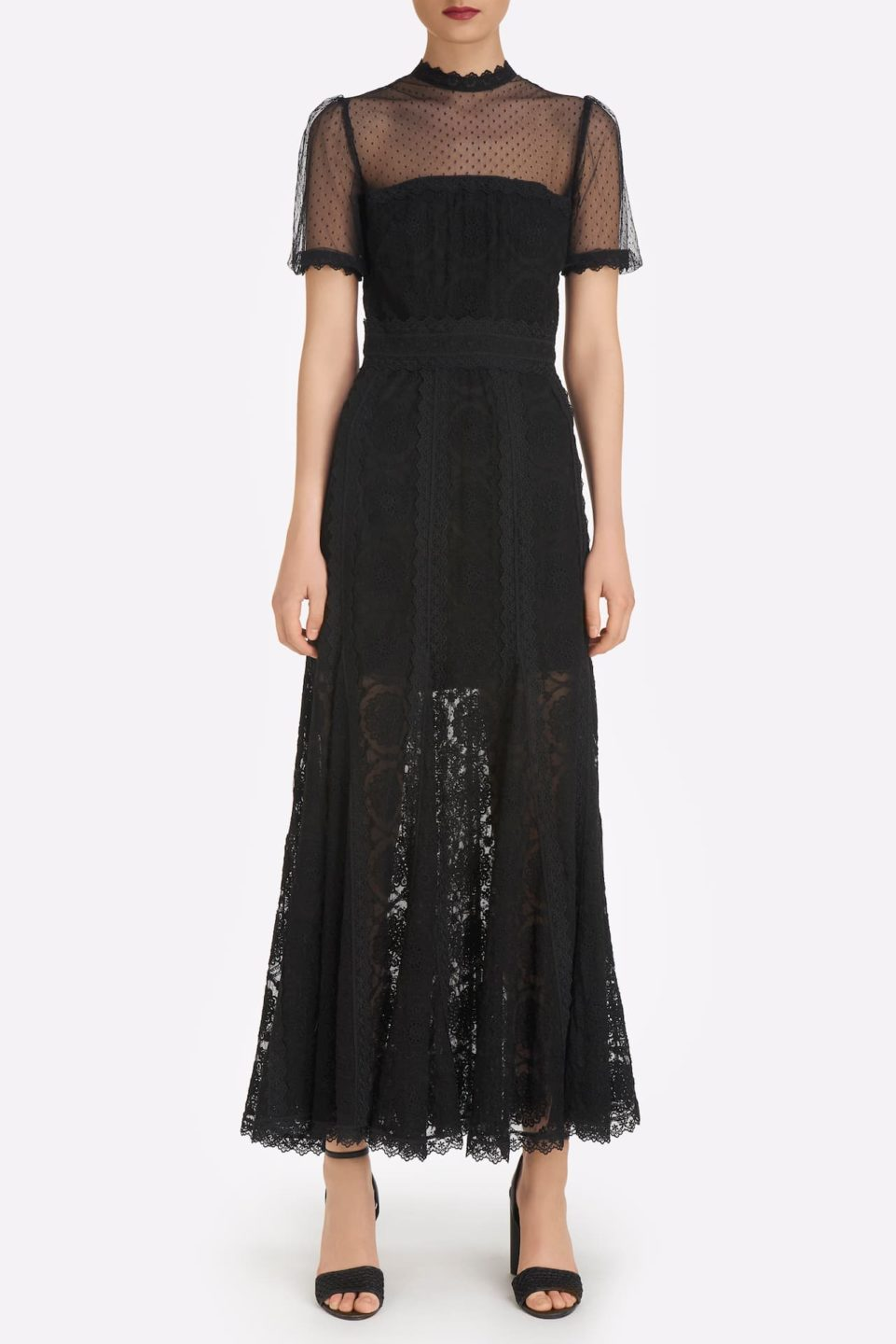 Andressa SS2139 Black Embroidered Rosetta French Tulle Godet Dress with Illusion Neckline and puff Sleeves