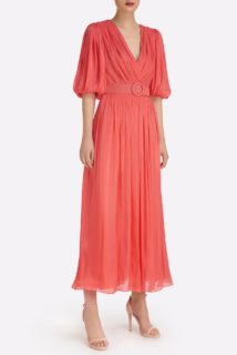 Brennie SS2144 Coral Iridescent Lurex Georgette A-line Dress with side slit and coordinating belt