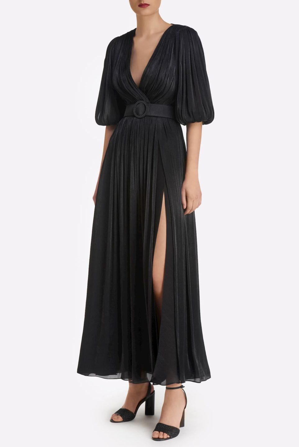 Brennie SS2144 Black Iridescent Lurex Georgette A-line Dress with side slit and coordinating belt