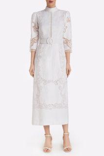 Evaine SS2122 White Linen Cotton Blend Sheath Dress with Greek Reticella Lace and Mock-neckline