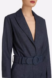 Zinthia SS2129 Dark Blue Denim Wide-lef Jumpsuit with belt and notched collar