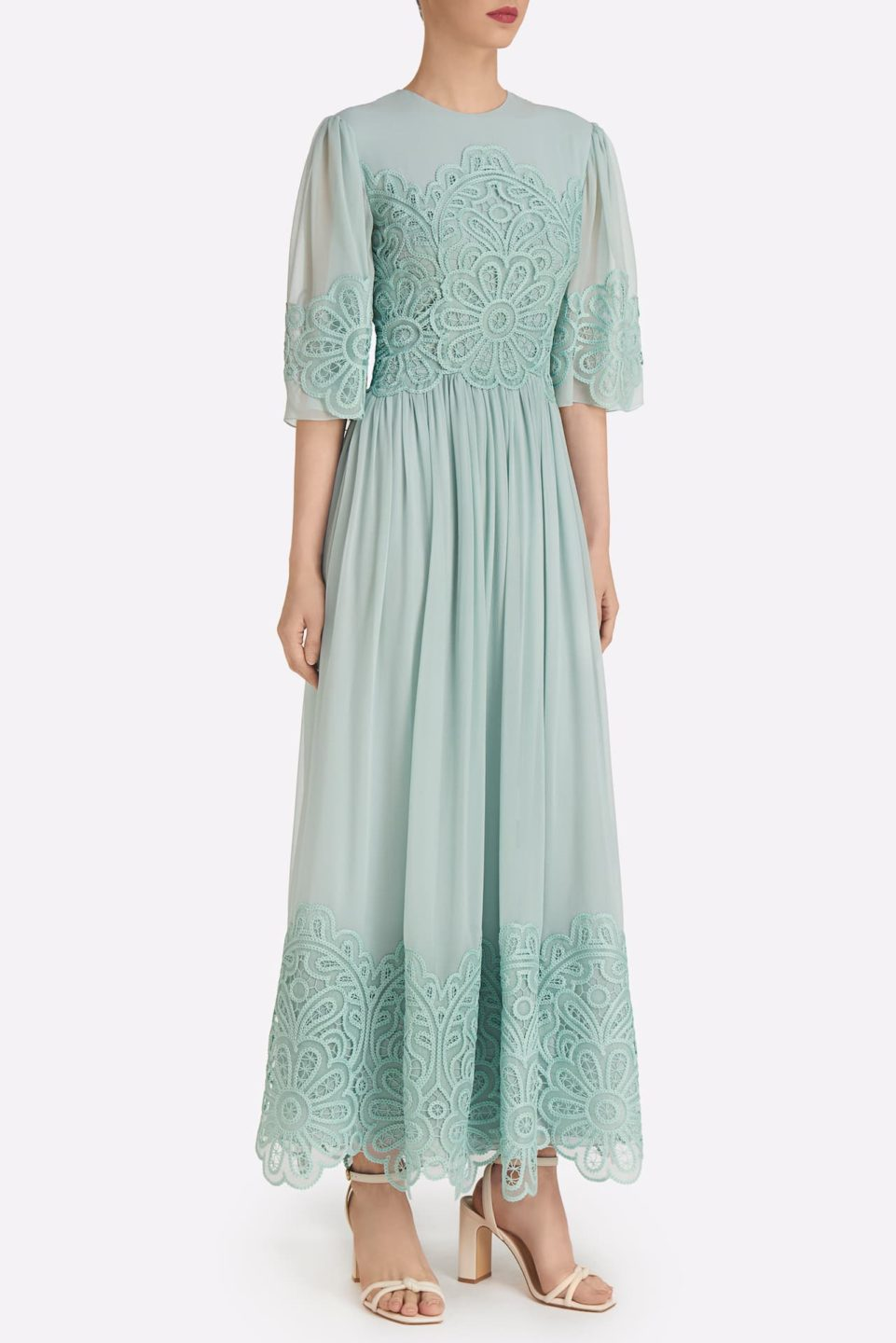 Kenley SS2113 Green Silk Chiffon A-Line Dress with Emrboidered Lace Detail