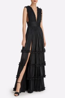 Rosina SS2147 Black Iridescent Lurex Georgette Tiered Gown with Plunging neckline & Ruffle Detail