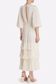 Celestina SS2145 White Iridescent Lurex Georgette Ruffle Tiered Dress