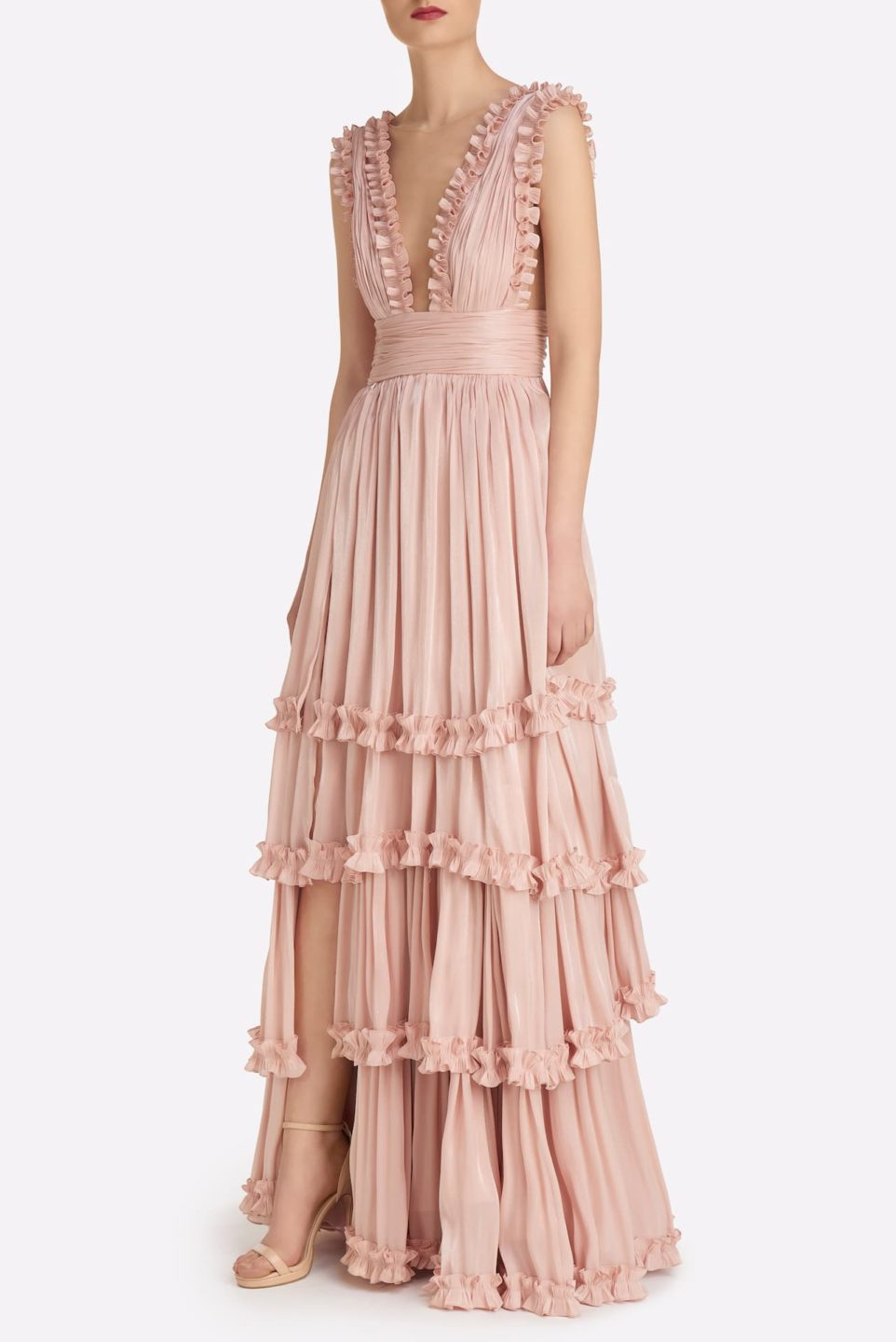 Rosina SS2147 Pink Iridescent Lurex Georgette Tiered Gown with Plunging neckline & Ruffle Detail