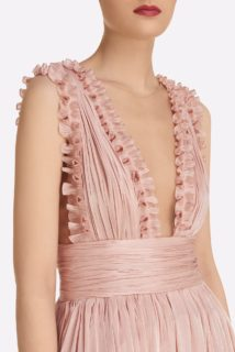 Rosina SS2147 Pink Iridescent Lurex Georgette Tiered Gown with Plunging neckline & Ruffle Detail