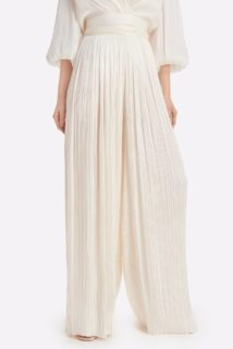 Evevlyn SS2141 white Iridescent lurex Georgette Plisse Wide-leg palazzo pants