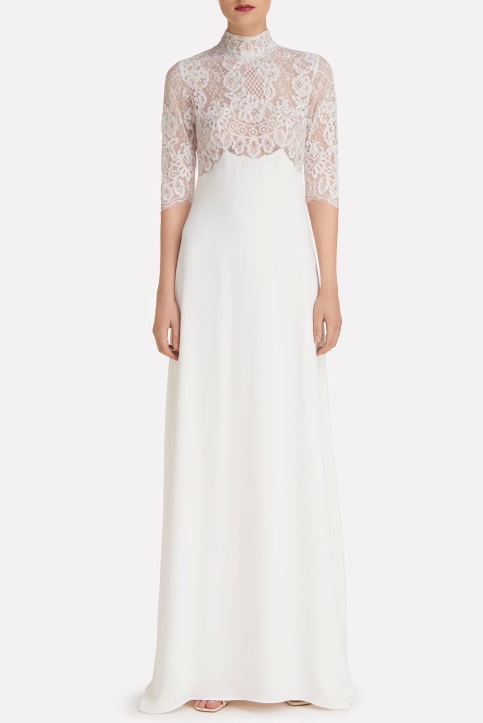 Blanca SS2157 Crepe Empire Gown with Corded Lace Bodice and High-Neckline