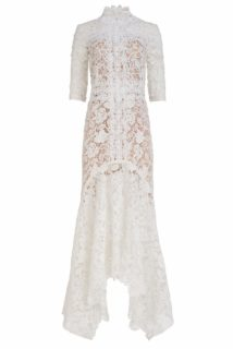 Kalissa SS2159 White Guipure Lace fitted handkerchief gown with high-neckline