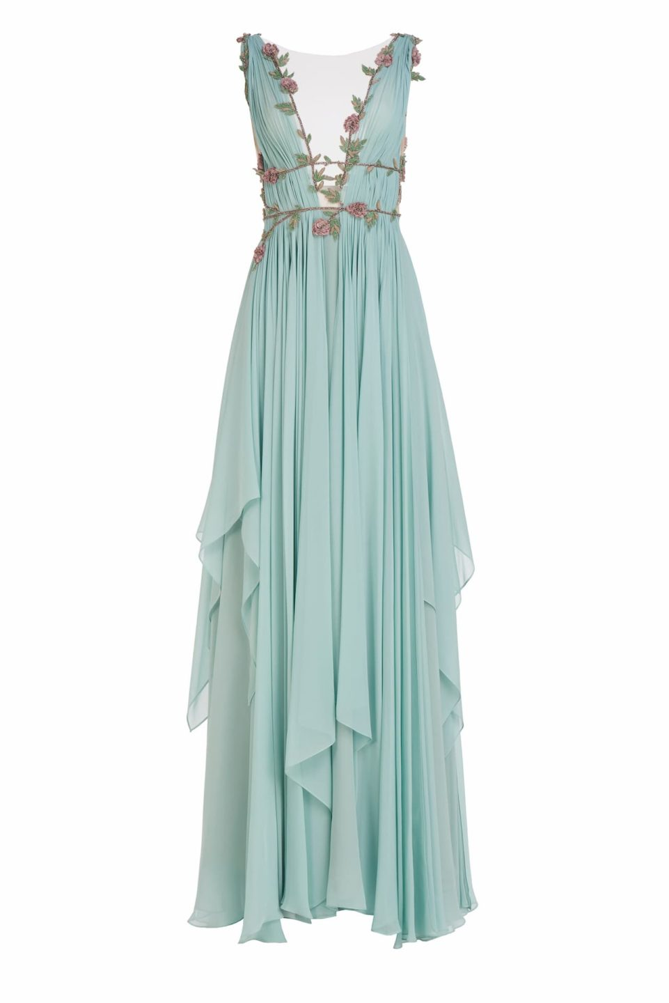 Radella SS2161 Green Draped Grecian Silk Chiffon Gown with Caged Bodice and Beaded Embellishments