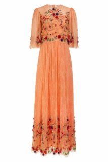 Lizette SS2182 Orange Chantilly Lace Fit & Flare Gown with Beaded Flower Embellishments