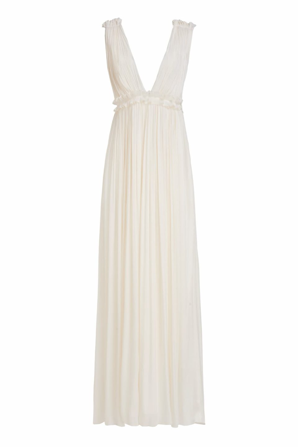 Catalina SS2146 White Iridescent Lurex Georgette Grecian Draped Gown with Double Edged Ruffle