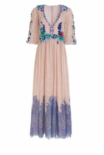 Janina SS2131 Nude Glitter Dot Chantilly Lace Dress with Blue Accents with flower appliques