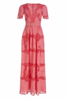 Loanna SS2124 Coral Linen Cotton Blend V-neck Gown with Greek Reticella Lave and coordinating belt
