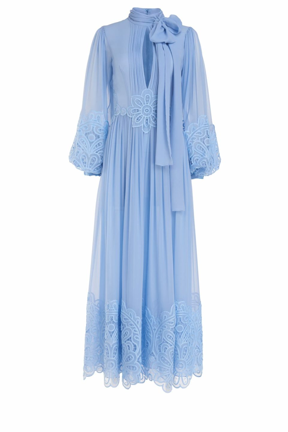 Tianna SS2111 Blue Silk Chiffon Long-Sleeve Pussybow Gown with Embroidered Organza Detail