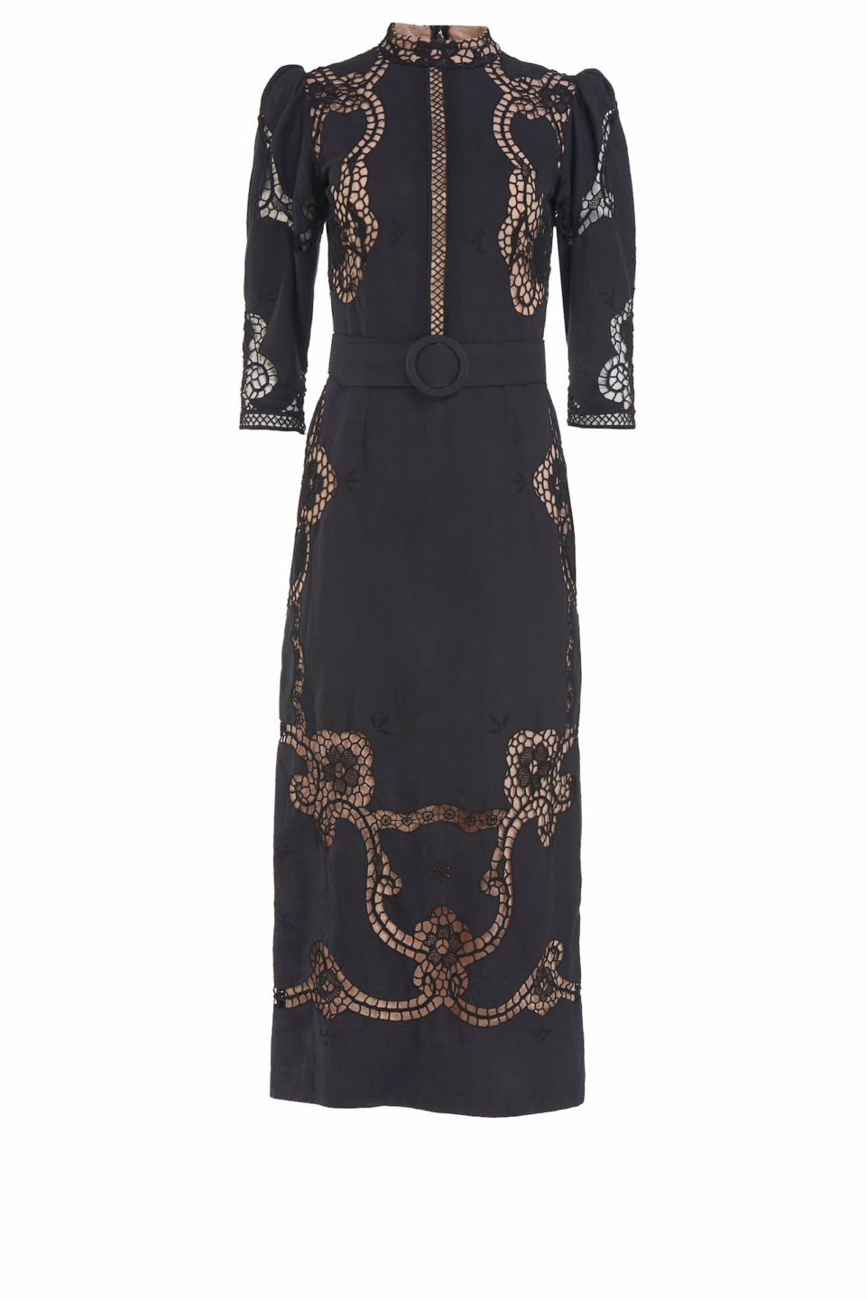 Evaine SS2122 Black Linen Cotton Blend Sheath Dress with Greek Reticella Lace and Mock-neckline