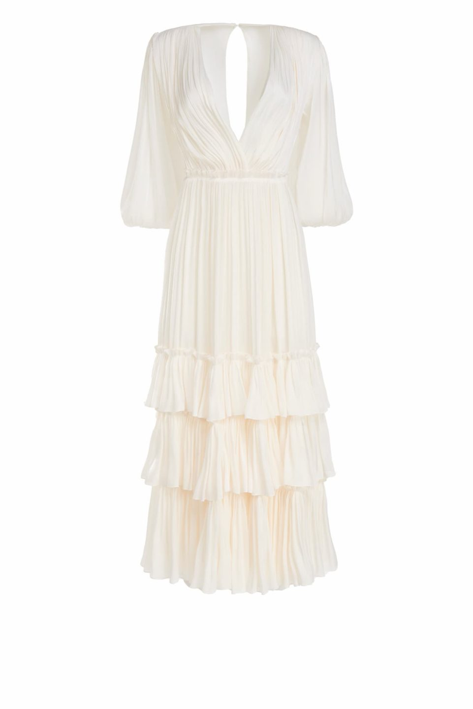 Celestina SS2145 White Iridescent Lurex Georgette Ruffle Tiered Dress