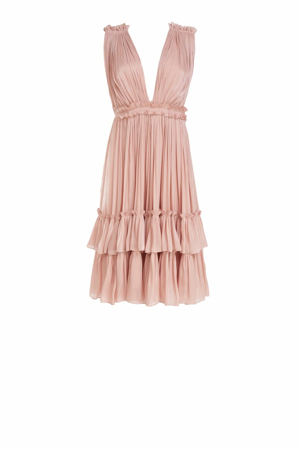 Roslyn SS2143 Pink Iridescent Lurex Georgette Flounce Dress with Plunging neckline and ruffle detail
