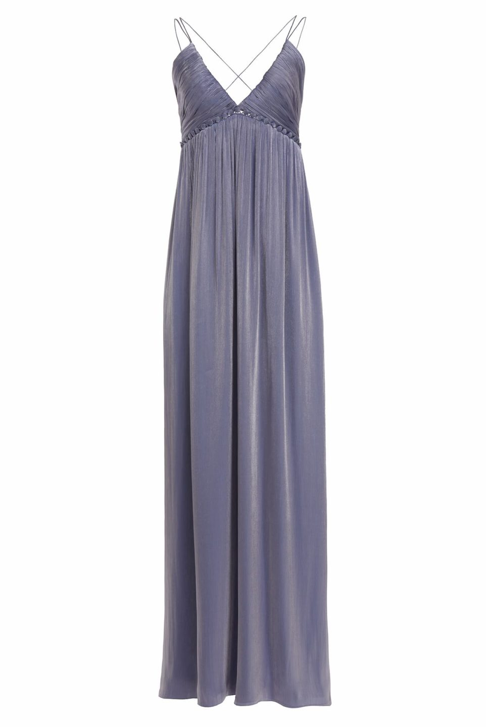 Nissa PS2156 Blue Iridescent Lurex Georgette Emmpire Gown with Triangle Top and Button Detailing