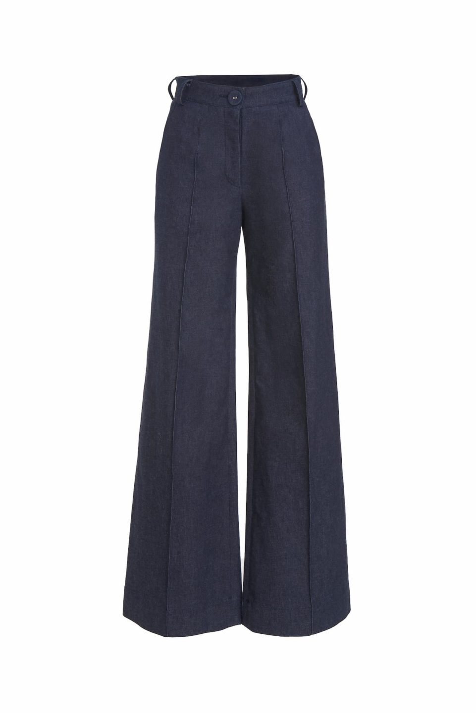 Zoey SS2128 Dark Blue High-Waisted Denim Pants with pintuch seams and coordinating belt