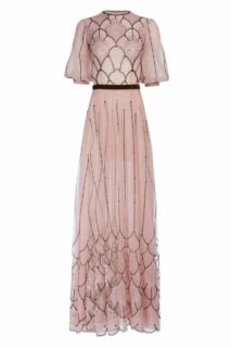Margarette FW2081 Pink embroidered glitter french tulle gown with chantilly lace and contrast embroidery