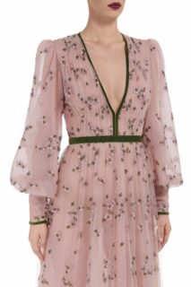 Philippa FW2085 Flocked Floral- Embroidered Tulle Gown with Cuffed Bishop Sleeves & Velvet Trim