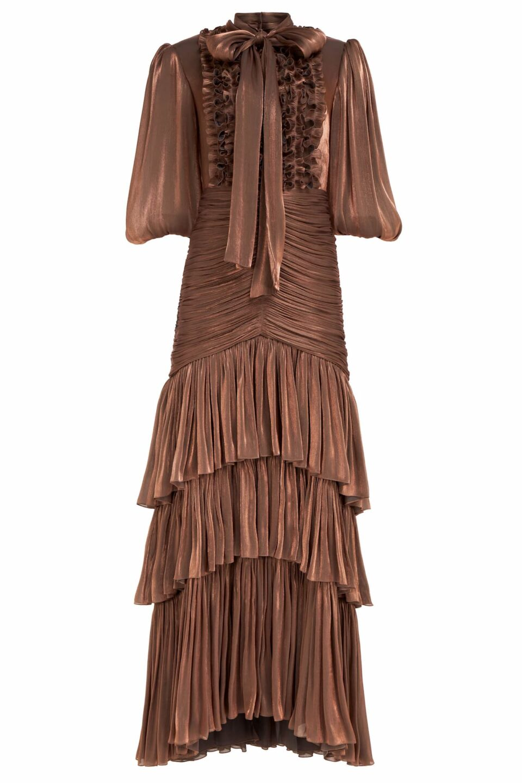 Tillie PR2130 Bronze Iridescent Lurex Georgette Pussybow Gown with Ruching & Tiered Skirt