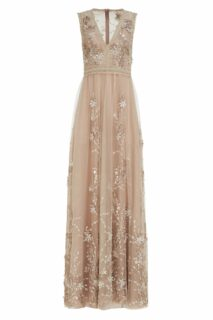 Eva PR2170 Beige French Tulle Gown with Floral Embroidery & Velvet Trim