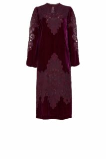 Samantha PR2141Burgundy Silk Velvet Midi Dress with Embroidered Lace Appliques
