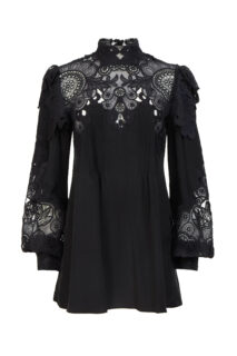 Jessa PR2149 Black Silk Crepe De Chine Blouse with Embroidered Organza Appliques