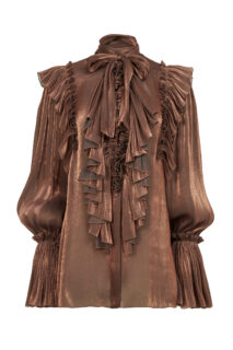 Marissa PR2132 Bronze Iridescent Lurex Georgette Pussybow Blouse with Ruffle Detail
