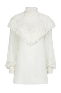 Elsie PR2162 White Silk Chiffon Blouse with Ruffled Illusion Neckline & Embroidered Details