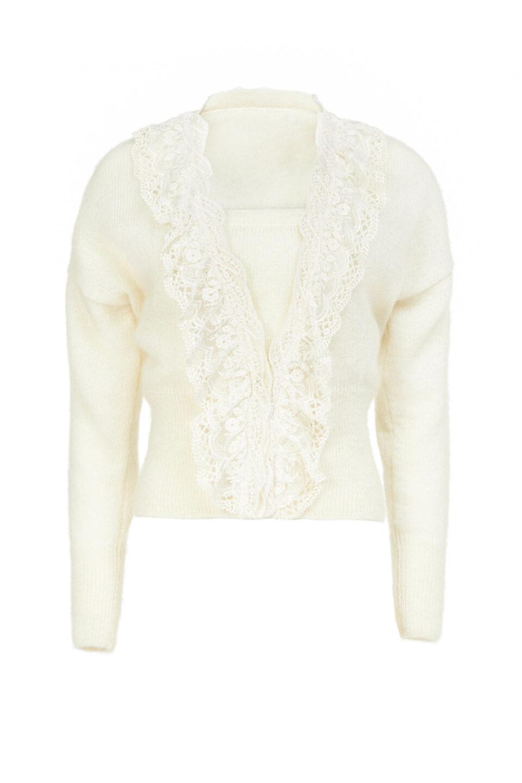 Sadie PR2185 White Mohair Knit Cardigan with Lace Ruffle Trim