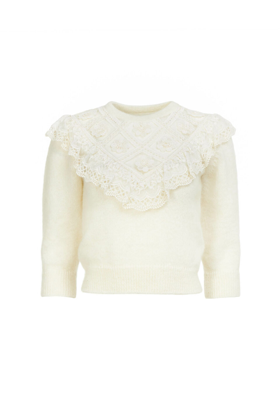 Julia PR2180 Sustainable Mohair Illusion-Neckline Knit Sweater with Embroidery & Ruffle Detail