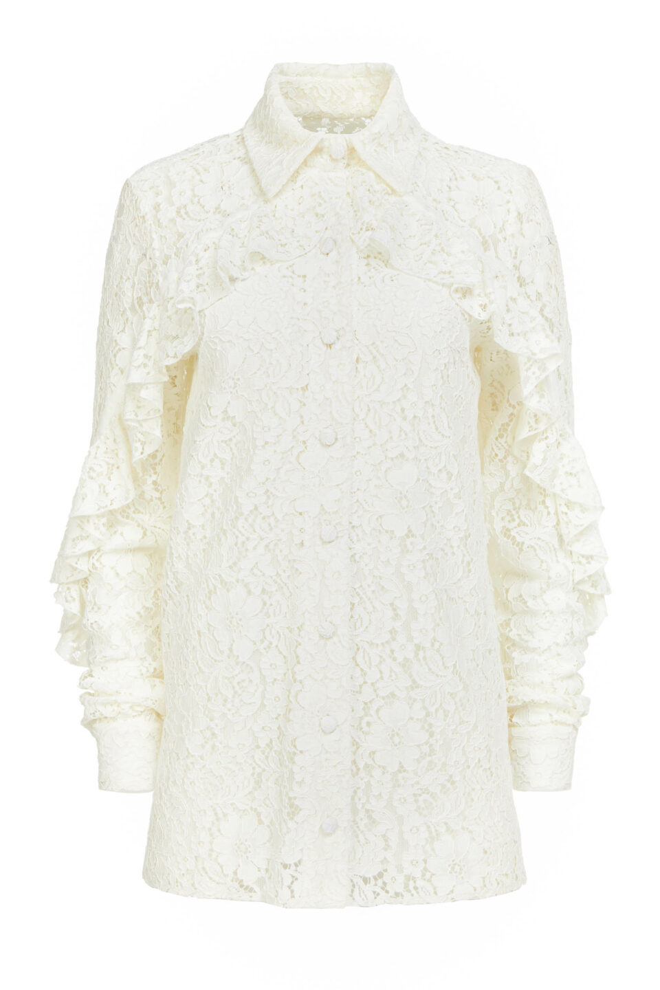 Kanna PR2116 White Corded Lace Collared ButtondownBlouse with Ruffle Detail