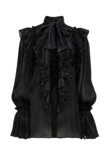 Marissa PR2132 Black Iridescent Lurex Georgette Pussybow Blouse with Ruffle Detail