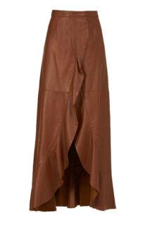 Selissa PR2153 Camel Soft Lamb-Skin Leather Wrap Skirt with Ruffled Edge