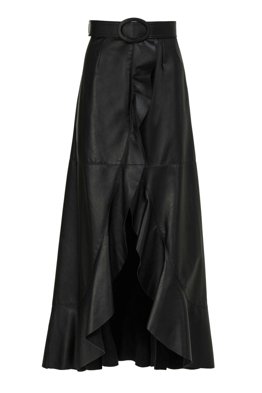 Selissa PR2153 Black Soft Lamb-Skin Leather Wrap Skirt with Ruffled Edge