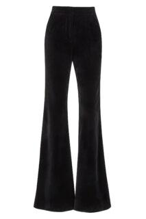 Juleen PR2147 Black Cotton Velvet Wide Leg Trousers