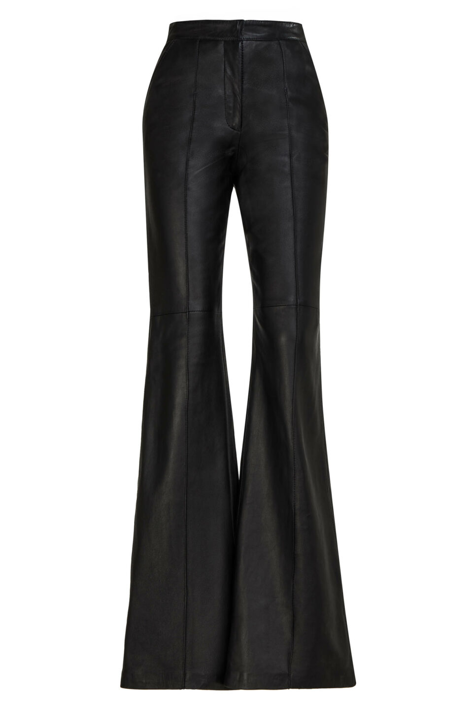 Denie PR2151 Black Soft Lamb-SkinLeather Tailored Wide-Leg Pants with Pintuck Seams