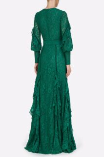 Patrice PR2111 Green Corded Lace Buttoned Ruffle Dress with Velvet Trim & Coordinating Belt
