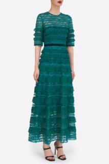 Maxine PR2175 Green Chantilly Lace Dress with Silk Chiffon Ruffles & Inner Mini Dress