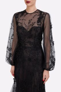 Audrey PR2171 Black Dotted French Tulle Gown with Floral Embroidery & Illusion Neckline